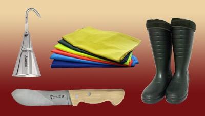Noże, narzędzia, odzież
